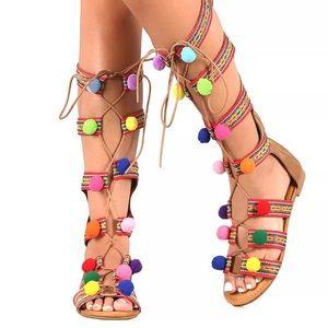 Pom Pom Gladiator Sandals